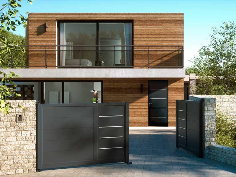 Portail alu conception et installation rennes nantes - Porte isolante entre garage et maison ...